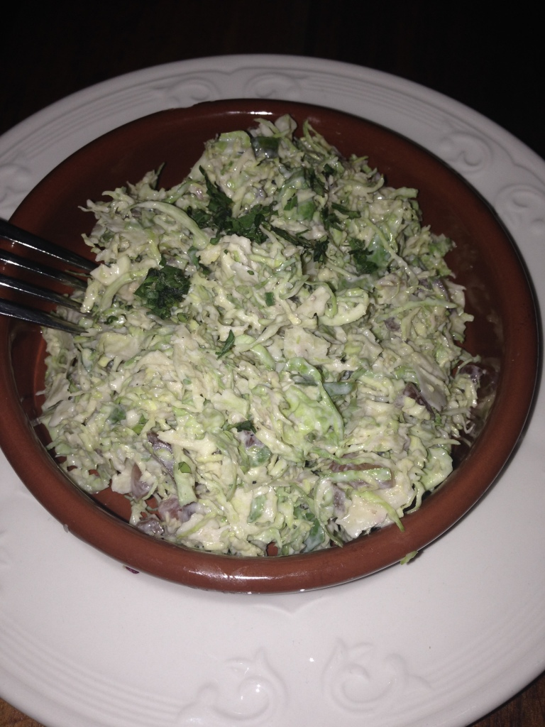 brussel sprouts with bacon vinaigrette and parmesan