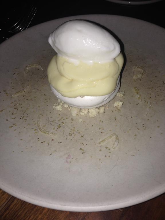 Lemon meringue pot, ice cream and lemon zest