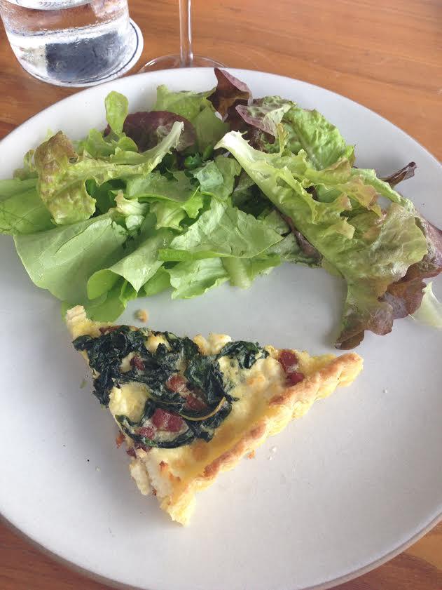 Alsatian Tart: dandelion greens, housemade ricotta, bacon lardons, green salad
