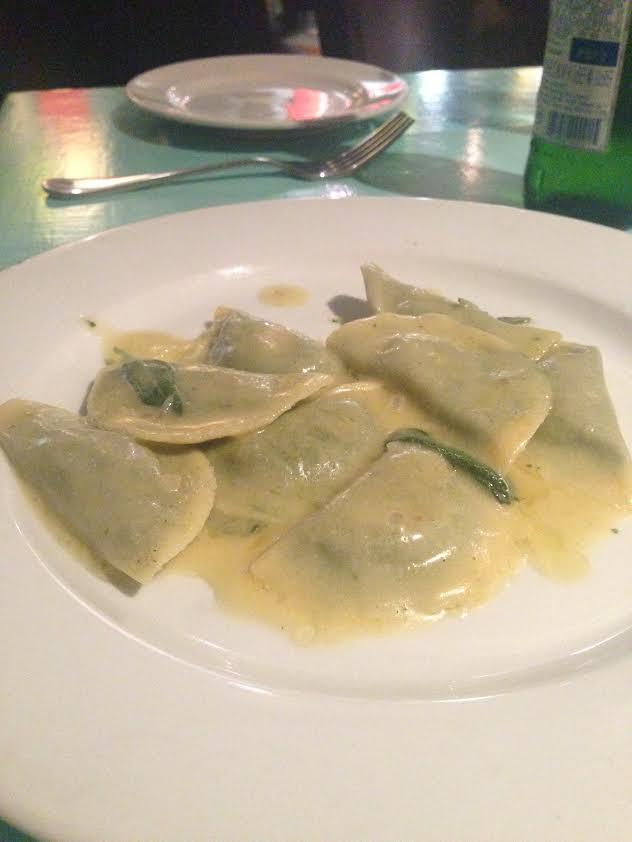 tortelli di bietola - ravioli stuffed with swiss chard, ricotta, goat cheese, sage butter sauce