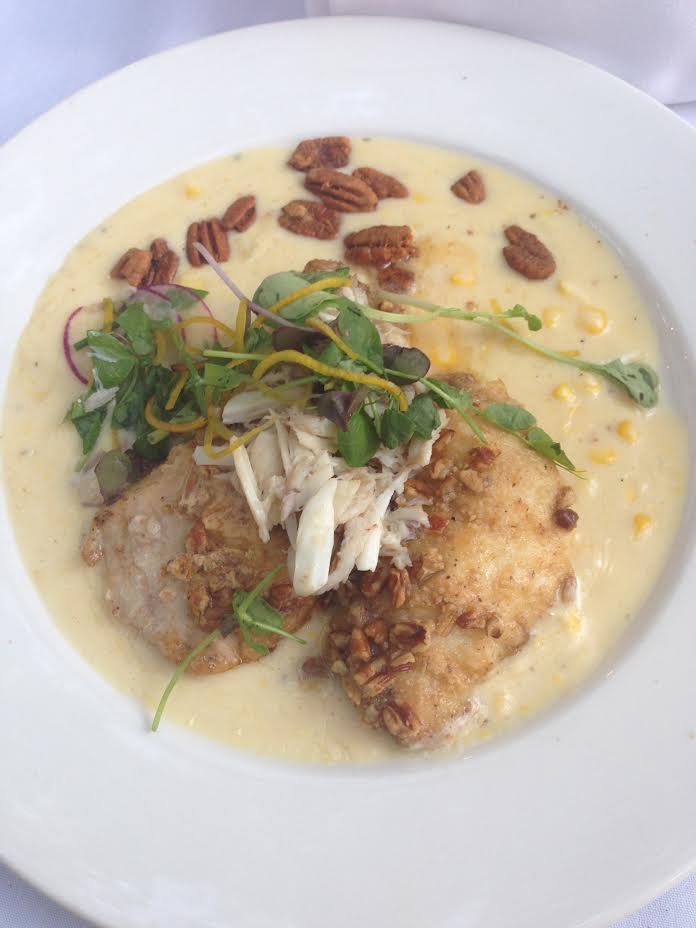 I opted for the Pecan Crusted Gulf Fish. It has been on the menu since the opening of Commander's. It includes crushed sweet corn, spiced pecans, petite herbs, and Prosecco poached Louisiana blue crab.